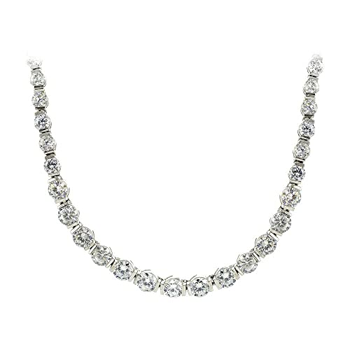 Hoops Loops Sterling Silver Cubic Zirconia Graduated Bar Tennis Necklace