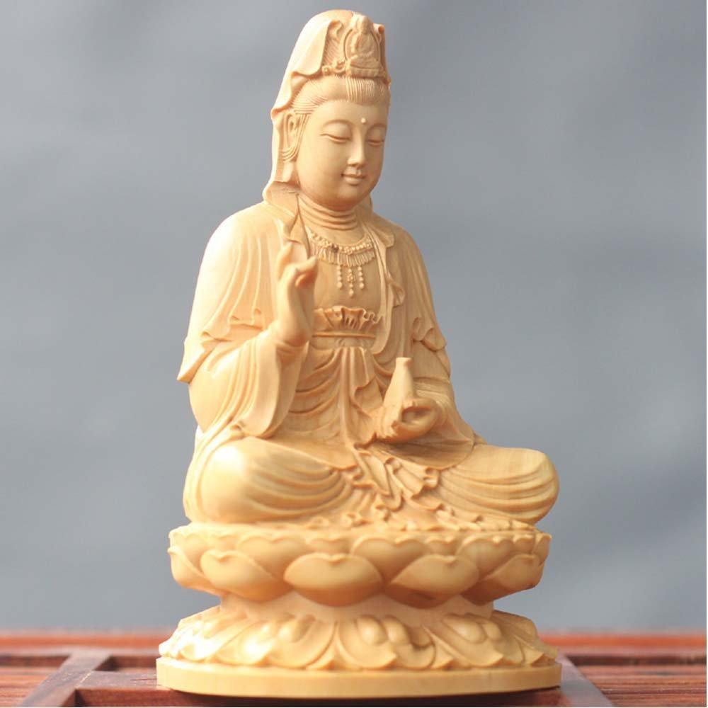 木彫仏像 観音菩薩 木製彫刻 祈る (サイズ:10cm) B01MULF1NY