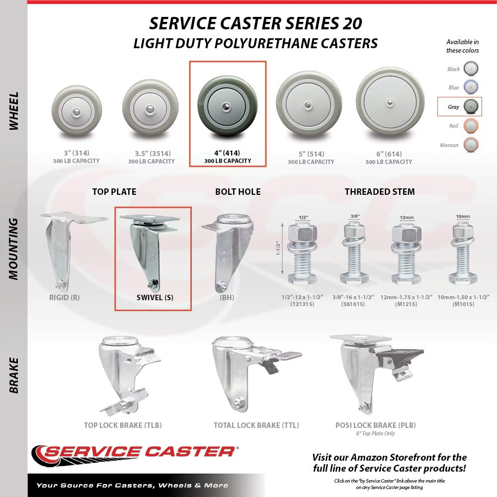 Service Caster – 4'' Gray Polyurethane Wheel – 2 Stainless Steel Swivel and 2 Stainless Steel Swivel Casters w/Brakes by Service Caster (Image #3)