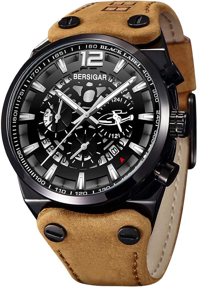 Orologio da uomo bersigar cronografo militare analogico al quarzo BG-8112