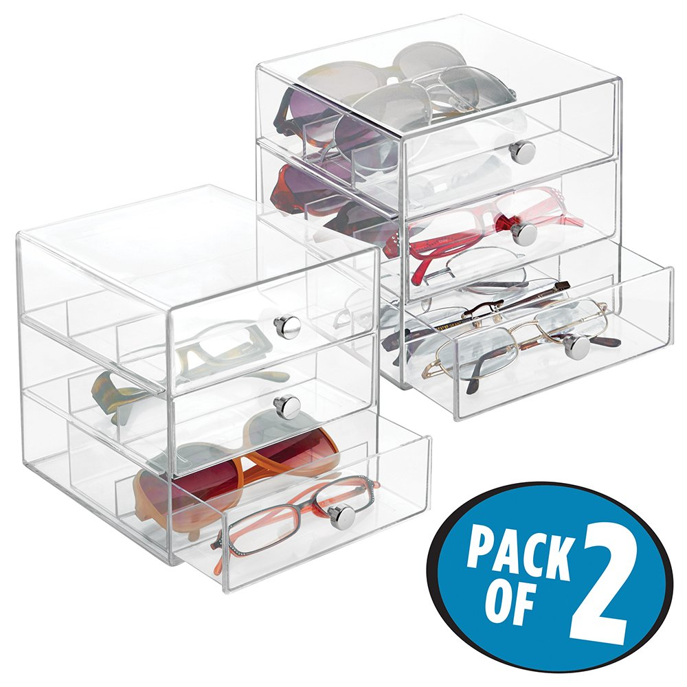 mDesign Stackable Organizer Holder with 3 Drawers for Eyeglasses, Sunglasses and Reading Glasses - Pack of 2, Clear
