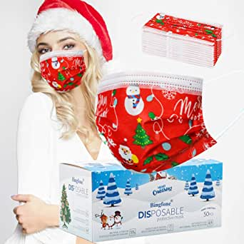 Christmas Disposable Mask with Adjustable Earloops Nose Wire Red Christmas Theme Disposable Masks for Adults Women Men 50 Pcs (Adult red)