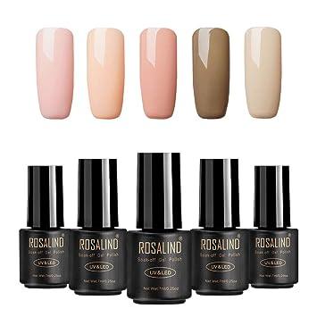 Rosalind Color Nude Uv Esmalte En Gel Para Uñas Semi Permanente Manicura Para Uso Personal Y Profesional Top Coat Base Coat 5 Botellas 7ml