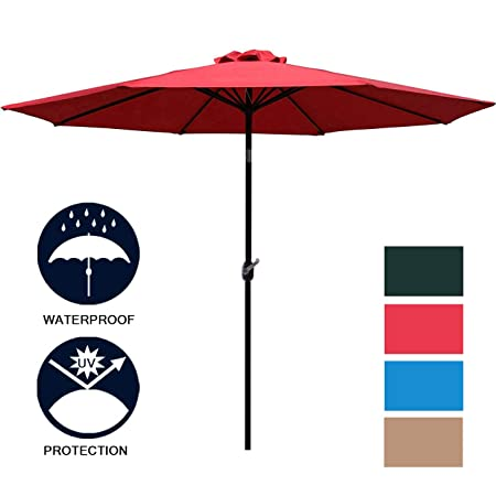 Sunnyglade 9 Patio Umbrella Outdoor Table Umbrella with 8 Sturdy Ribs (Red)