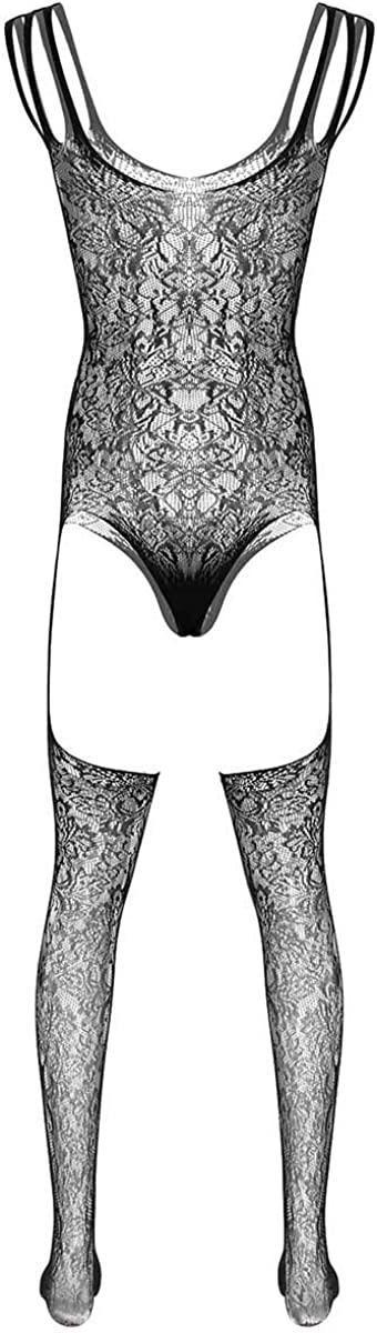 Alvivi Mens Fishnet See Through Hollow Out Lingerie Footed Pantyhose Tights Full Body Stocking
