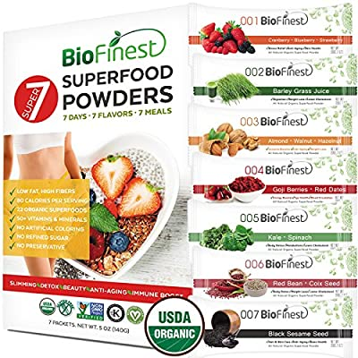 Biofinest 22-in-1 Superfood Powder - 7 Flavors Organic Meal Replacement Shakes for Weight Loss, Lean Body, Detox - 100% Pure Green Superfood - Antioxidant Supplement - For Smoothies, Women, Men (5oz)