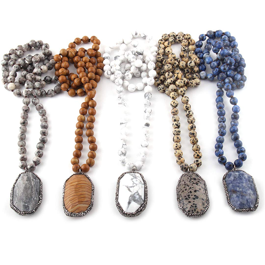 Fashion Bohemian Jewelry Semi Precious Stones Long Knotted Stone Paved Pendant Necklaces For Women Ethnic Necklace black dot 130cm