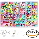 Acerich 500 Pcs Jewelry Beads Toys Handmade DIY Crafts Arts Jewelry Making Kits for Children Bracelets, Necklace, Early Childhood Education Toys, Acrylic Crafting Beads Kit Box with Accessories