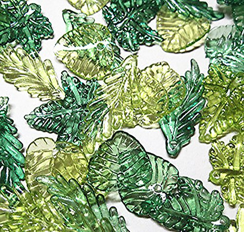 Luxury & Custom {Assorted Sizes 14 - 25mm} of Approx 100 Individual Loose Extra Large Leaf Beads Made of Acrylic w/ Detailed Mixed Leaf Shape Nature Forest Tones Summer Tropical Design {Green}