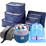 9pcs Travel Organizer Light Packing Cubes include Waterproof Shoe Organizer Toiletry Organizer Large Medium Small Laundry Compression Pouches, Blue