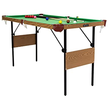 Charles Bentley 2 In 1 4Ft 6 Inch Green Snooker Games Table With Snooker  Balls U0026