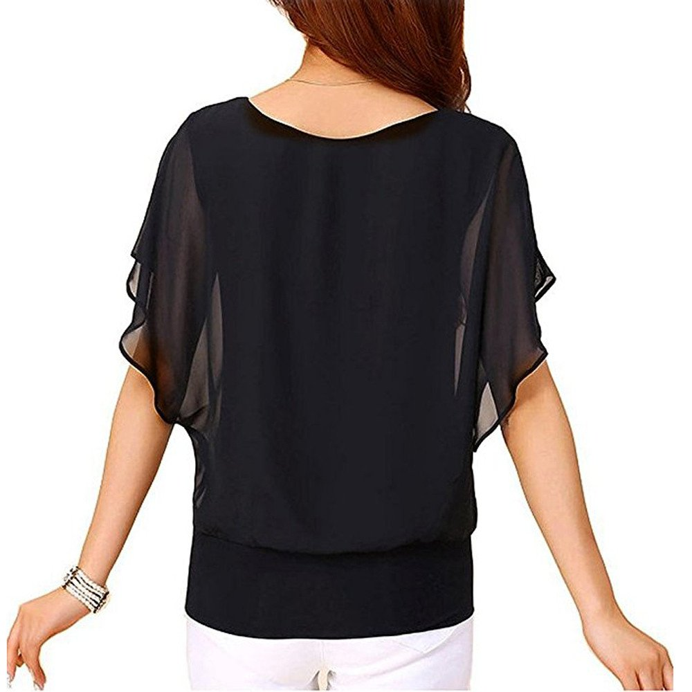 Womens Shirts Summer,Selinora Ladies Loose Arge Size Casual Short Sleeve Batwing Sleeve Solid Chiffon Top T-Shirt Blouse