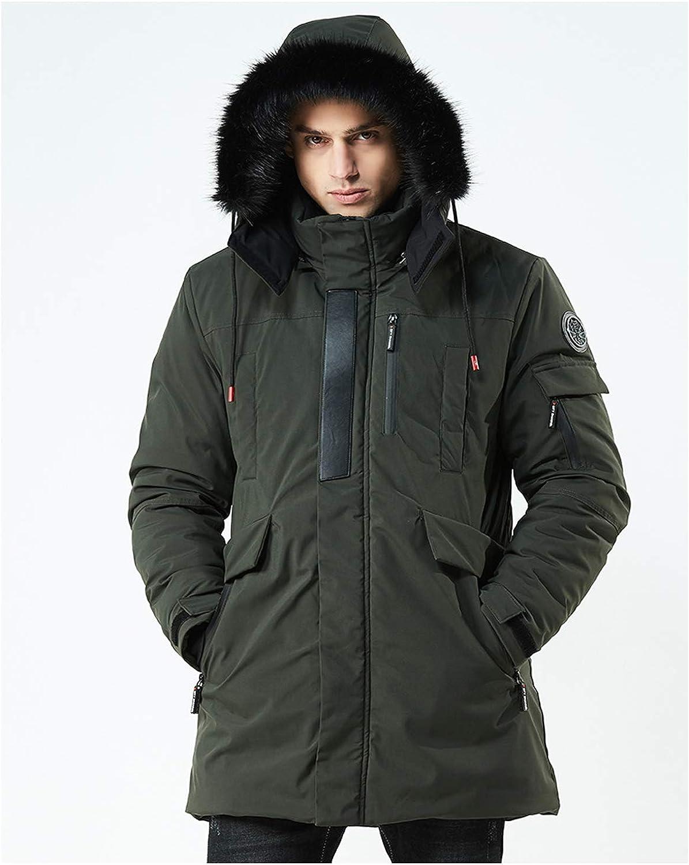 Mens Winter Hooded Parka Warm Jacket Windbreaker Coat Fur Collar Zipper Outwear