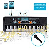 Digital Electronic Musical Keyboard - Kids Learning Keyboard 49 Keys Portable Electric Piano w/ Drum Pad, Recording, Rechargeable Battery, Microphone - Pyle PKBRD4112 (Color: Black)