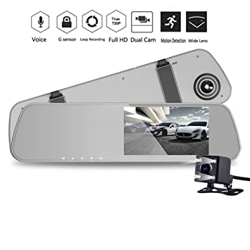 Black Box Dash Cam >> 4 3 1080p Rearview Mirror Dash Cam Dual Lens In Car Camera Black Box Car Dvr Double Cameras Dashcams Car Video Recorder Without Memory Card