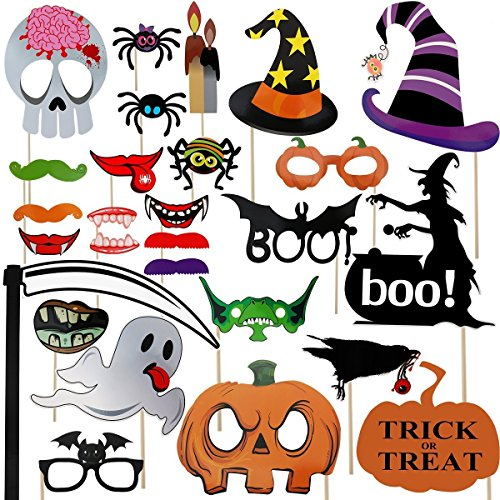 Halloween Photo Booth Props 27 Pieces DIY Kit for Halloween Decoarations Favors