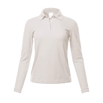 A2Y Women's Basic Casual Essentials 4-Button Junior-Fit PK Cotton Pique Polo Shirt: Clothing