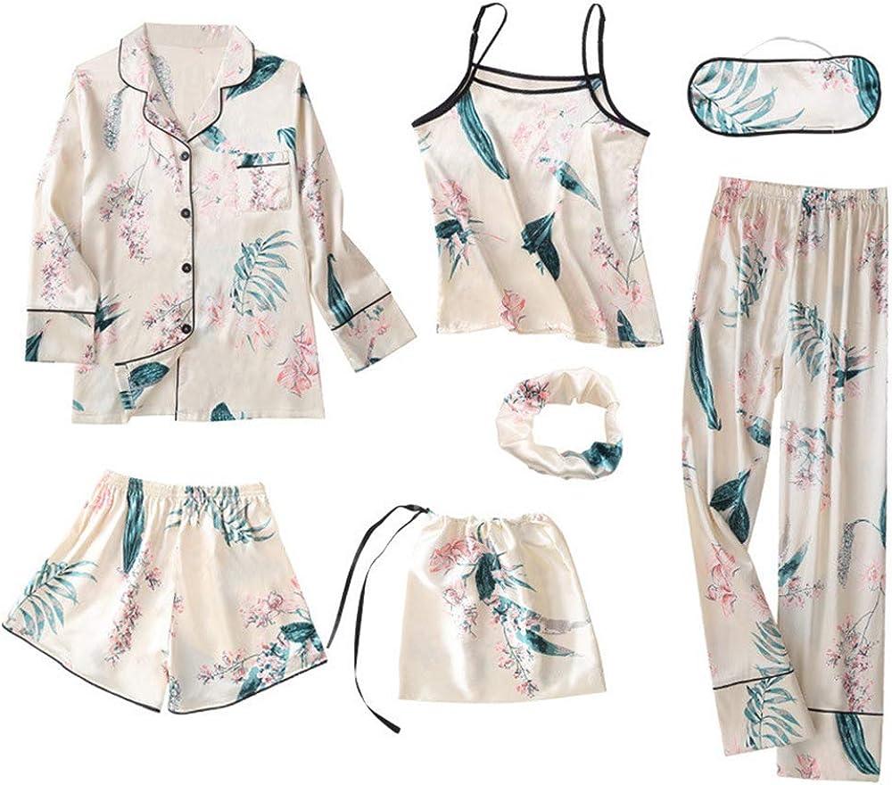 Pijama Mujer Ropa De Dormir 7Pcs Conjunto Camisa, Camisola, Pantalón Largo, Pantalón Corto, Diadema de Pelo, Visera Moda Chulo Elegante Sexy (XL, Hoja Verde)