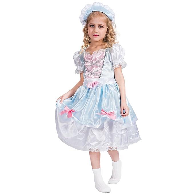 EraSpooky Vestido de Princesa Elegante de época Victoriano con el Sombrero para Niñas(Azul,