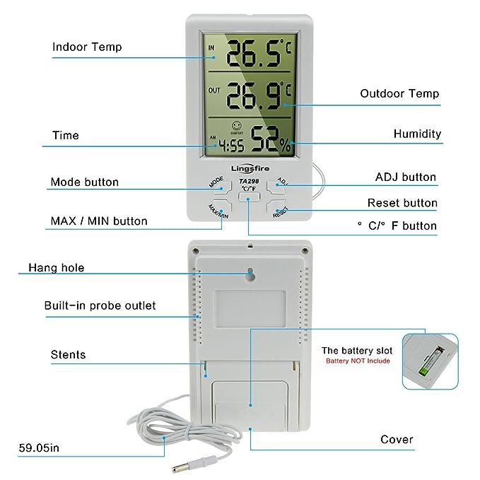 NewBorn & Babies LingsFire® - Termómetro Digital LCD para Interiores y Exteriores, higrómetro de Humedad con min/Valor máximo y Reloj: Amazon.es: Bebé