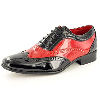 Mens Two Tone Spats Italian Style Lace Up Wingtip Shoes Formal Shoes