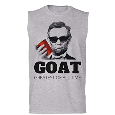 d8b01d8604892 Customized Girl Drinkin Lincoln Goat July 4th  Unisex Sleeveless T-Shirt  Sport Grey
