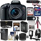 Canon EOS Rebel T7i Digital SLR Camera & EF-S 18-55mm IS STM Lens Video Creator Kit + RODE Mic + 2 32GB Cards + Backpack + LED Light + Battery/Charger + Tripod Kit