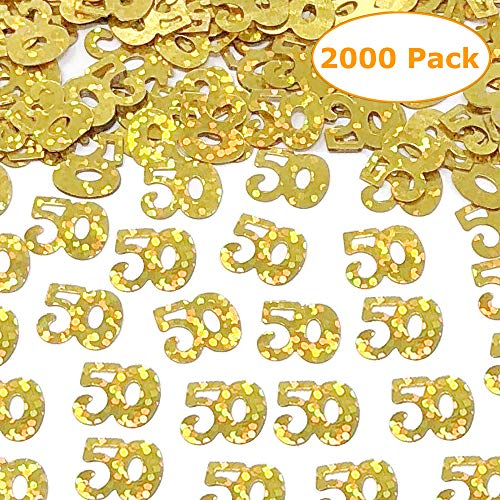 2000 Pieces Gold 50th Birthday Confetti 50 Number Confetti 50th Party Confetti for Party Supplies 2.46 OZ|50th Birthday and Anniversary Confetti