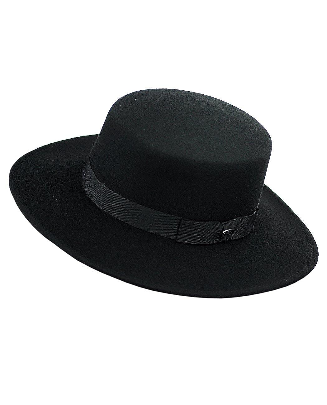 Ladies Tea Party Hats- Victorian to 1950s styles  Wool Wide Brim Porkpie Fedora Hat w/Simple Band Accent NYFASHION101 $39.99 AT vintagedancer.com