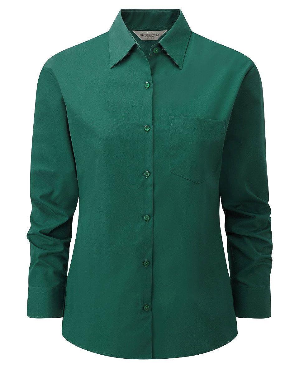 Russell Collection Damen Bluse Hemd LADIES/' POPLIN SHIRT Kurzarm Neu Z935F