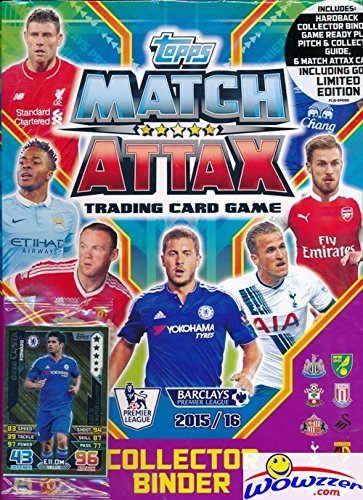 Packs Trading Card Game - 2015/2016 Topps Match Attax English Premier League Soccer Factory Sealed STARTER Kit with Hard Back Collectors Binder Album, Game ready play pitch, Game Guide, Card Pack & EXCLUSIVE GOLD Limited Card!