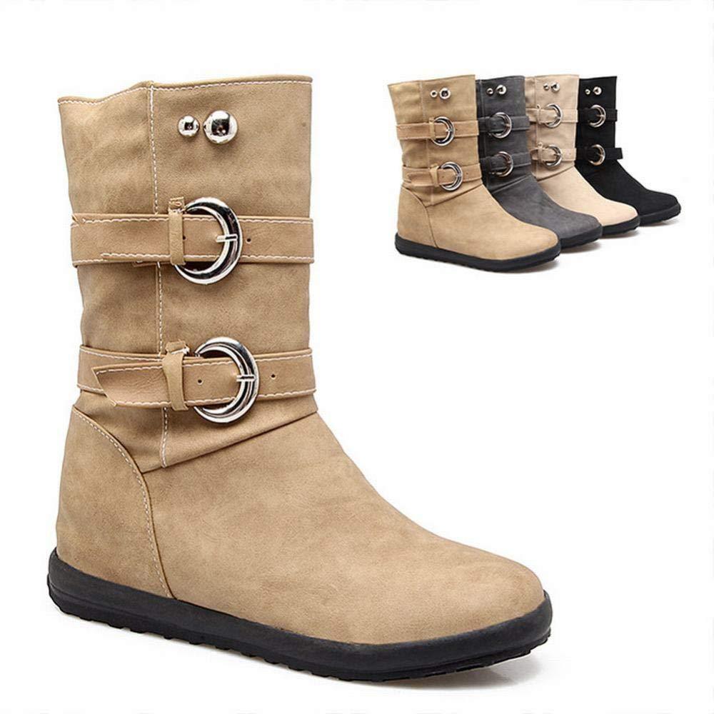ZHRUI Damenschuhe - Herbst und Winter Martin Stiefel Scrub Stiefelies Niedrige Ferse erhöhen Kurze Stiefel 36-43 (Farbe   Gelb Größe   39)