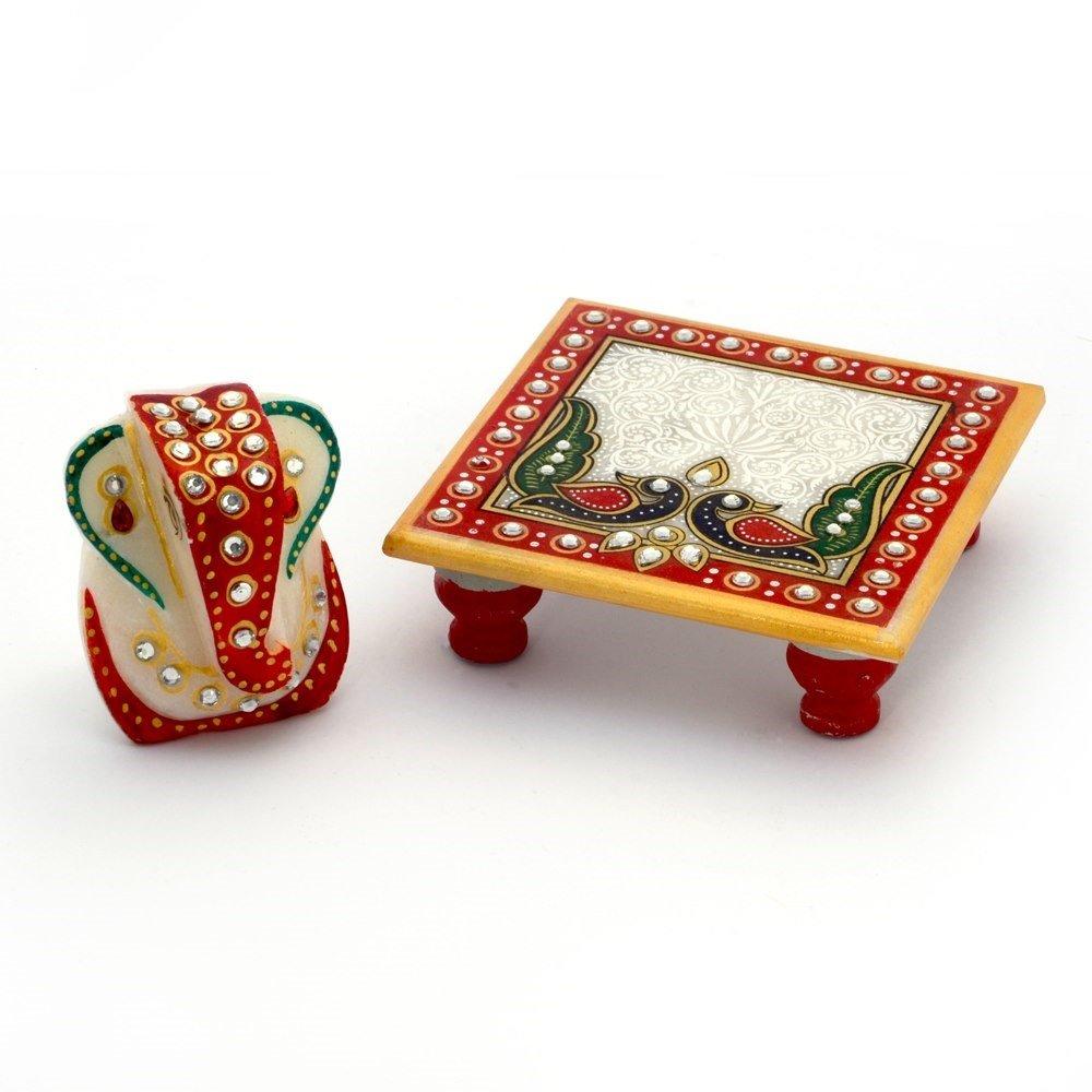 Little India Meenakari Work Lord Ganesha Marble Pooja Chowki 388