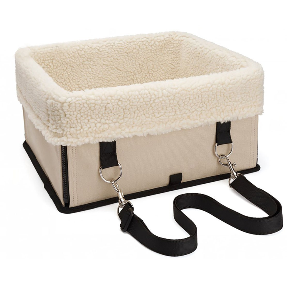 Beige L Beige L Pet Booster Seat Dog Car Seat Carrier with Seat Belt for Dogs and Cats (L, Beige)