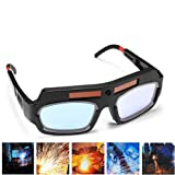 1 Pair Black Solar Auto Darkening Welding Goggle Safety Protective Welding Glasses Mask Helmet, Eyes Goggles Mask Anti-Flog Anti-glare Goggles (Color: Black)