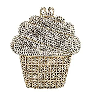 Your only brother Ladies Party ice Cream Cake Styling Evening Bag Wedding Gift Bride Bridesmaid Costume Clutch Bag Rhinestone Metal Chain Shoulder Wallet Ladies Size: 17 * 5 * 17cm (Color : Gold)