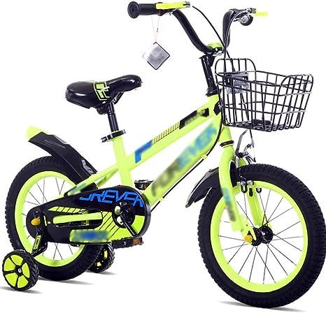 Bicicletas para niños Carro de bebé 12/14/16/18 pulgadas Bicicleta de montaña Acero con alto contenido de carbono Materiales Azul Verde Rojo Seguridad Moda (Color: Verde, Tamaño: 18 pulgadas): Amazon.es: Hogar