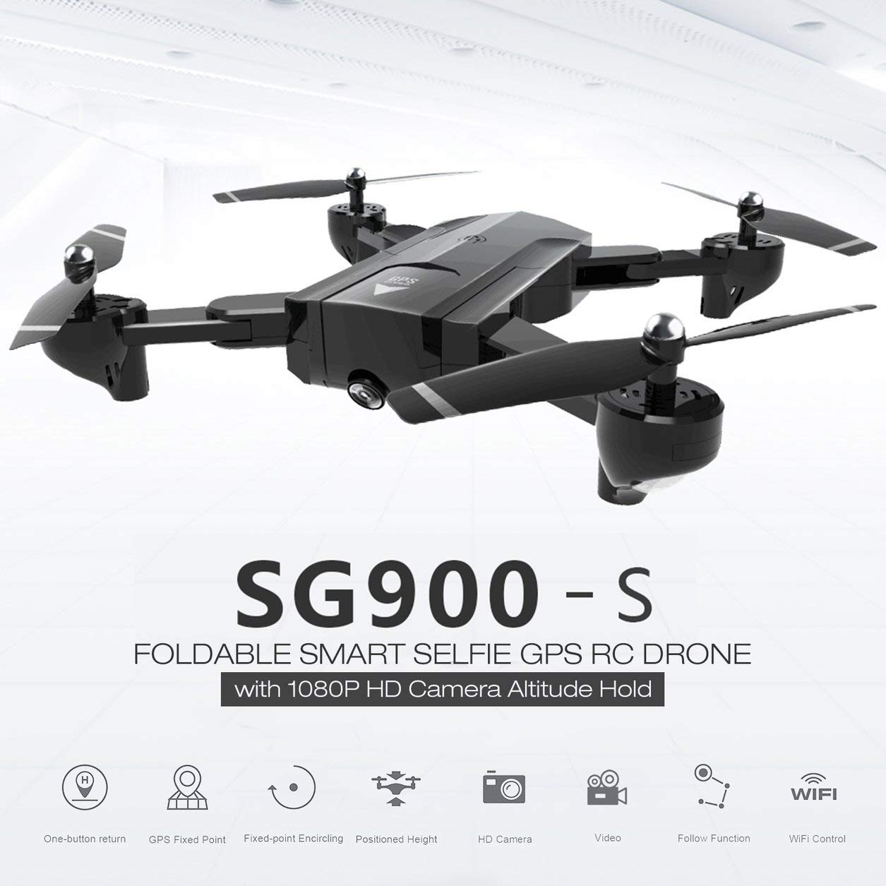 Dailyinshop SG900-S 2,4G RC Drohne Faltbare Selfie Smart GPS FPV Quadcopter mit 1080 P HD Kamera Höhe Halten Follow Me One Key Return (Farbe: Schwarz)