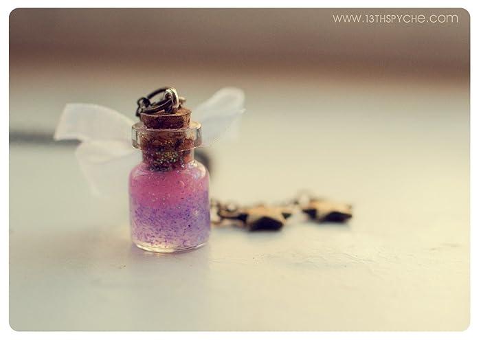 Collar de botella con lazo blanco con brillantia, Collar de botella de cristal, Botella