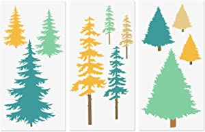 "Christmas Tree Stencils, Tall Fir Tree Pine Cypress Cedar Fall Wall Stencil 3 Packs for Furniture Canvas Home Decor Crafts Trees Reusable Mylar Stencils 6""x12"""