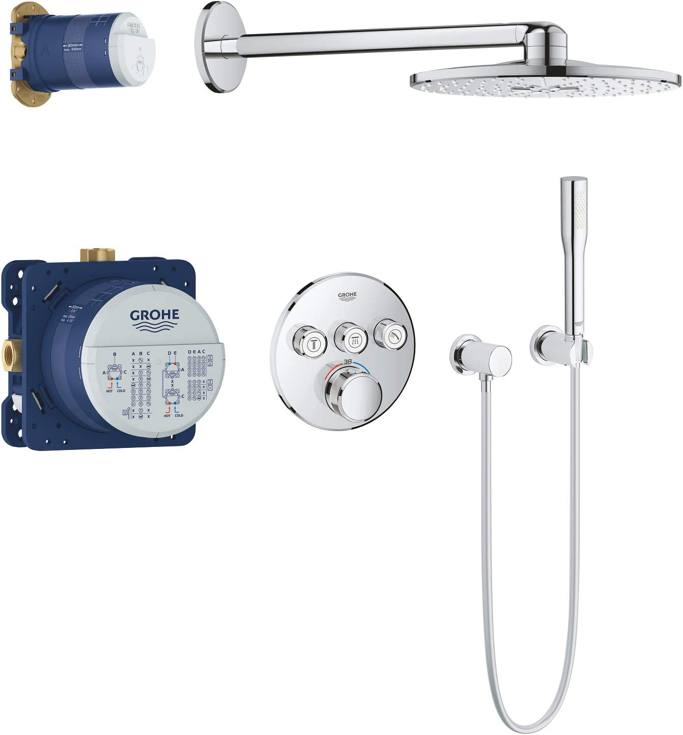 GROHE 34705000 Round Grohtherm Smart Control Perfect Set with Rain Shower 310, Chrome