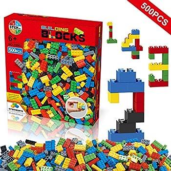Building Blocks 500 Pieces Set, Building Bricks Creative DIY Interlocking Toy Set Random Colors Mixed Shape ABS Puzzle Construction Toys Set for Kids and Toddlers Age 6+ (500 PCS)