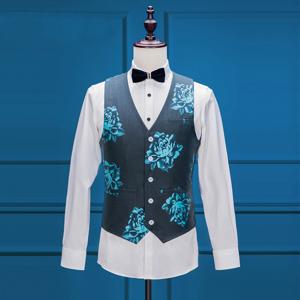 Maxudrs Mens Floral Groom Wedding Suit Men Suits Slim Fit Blue Dress ...