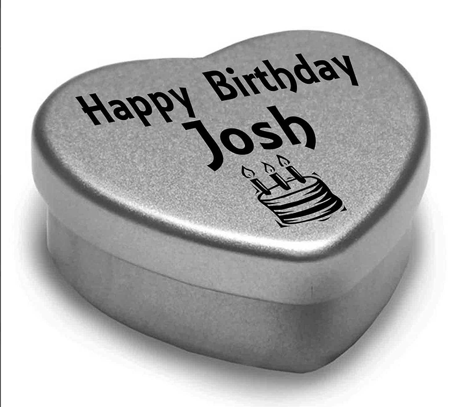 Fits Beautifully in the Palm of Your Hand Happy Birthday Josh Mini Heart Tin Gift Present For Josh WIth Chocolates Silver Heart Tin Great Birthday Present To Show Somebody You are Thinking of Them.