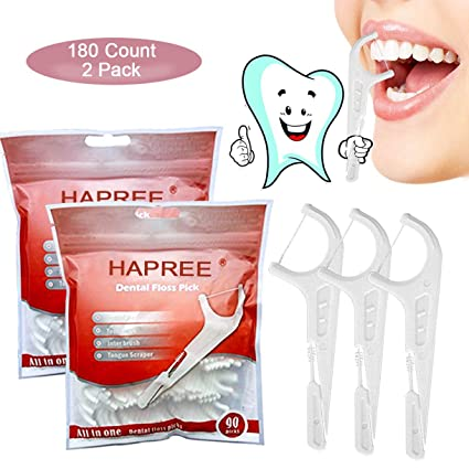 Hapree 180 Count Dental Floss Picks, multifunción incluye hilo dental, selector de dientes,