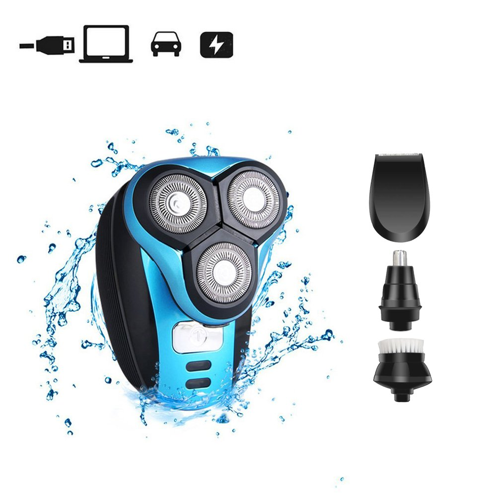 Cheng xiao Electric Rotary Shaver Razor Dry Wet Facial Hair Trimmer for Men Waterproof USB Rechargeable Cordless