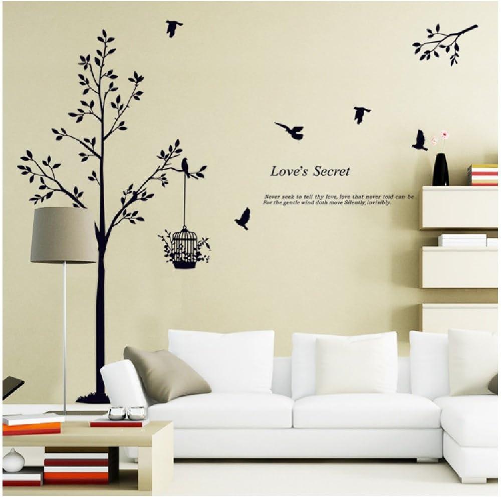 Amazon Co Jp ウォールステッカー ウォールペーパー ウォールシート シール 壁紙 モノクロ木と鳥 ホーム キッチン