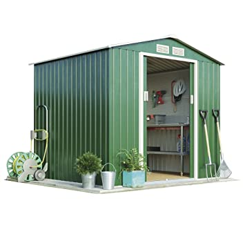 Metal Garden Shed Small Outdoor Storage 7 x 6.3 with Extra Strength Sliding Doors u0026 Easy  sc 1 st  Amazon UK & Metal Garden Shed Small Outdoor Storage 7 x 6.3 with Extra Strength ...
