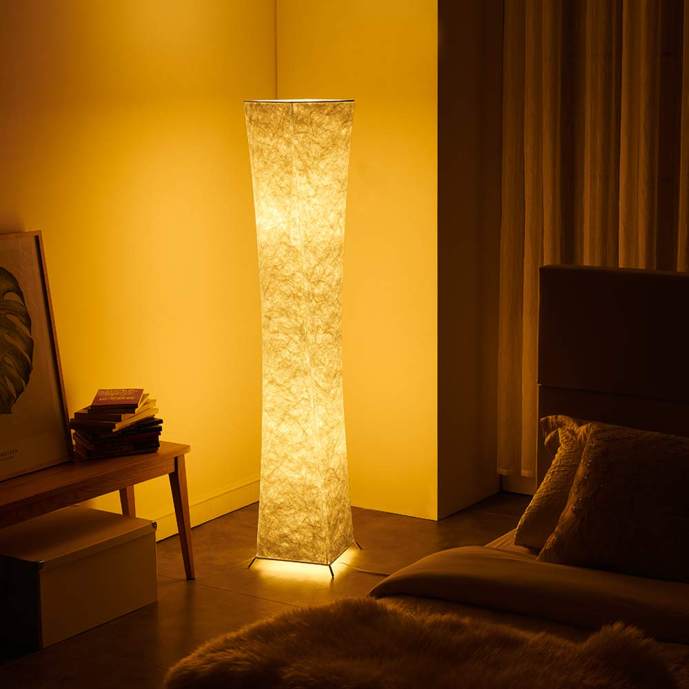 Floor Lamp, CHIPHY Tall Lamps, Color Changing and Dimmable Smart RGB LED Bulbs, Remote Control and White Fabric Shade, Modern Standing Light for Living Room, Bedroom and Office(10''10''61 inches) by chiphy (Image #4)