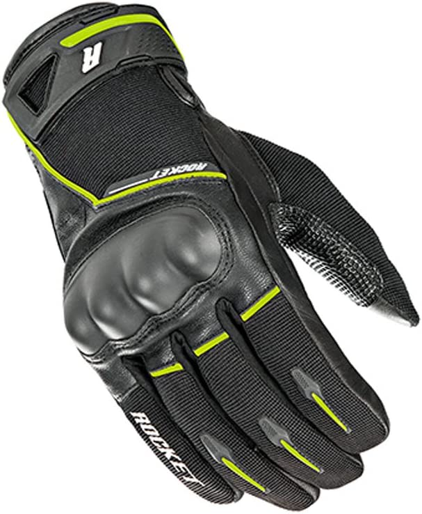 Black//Hi-Viz//Medium Joe Rocket Supermoto Mens Street Motorcycle Leather Gloves